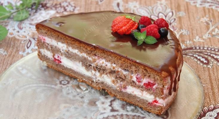 Торт со свежей малиной